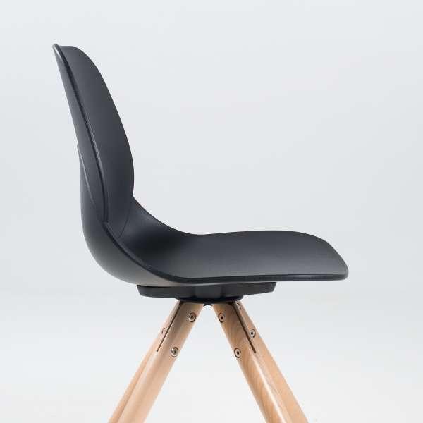 Chaise design en polypropylène noir et bois - Victoire 5 - 5