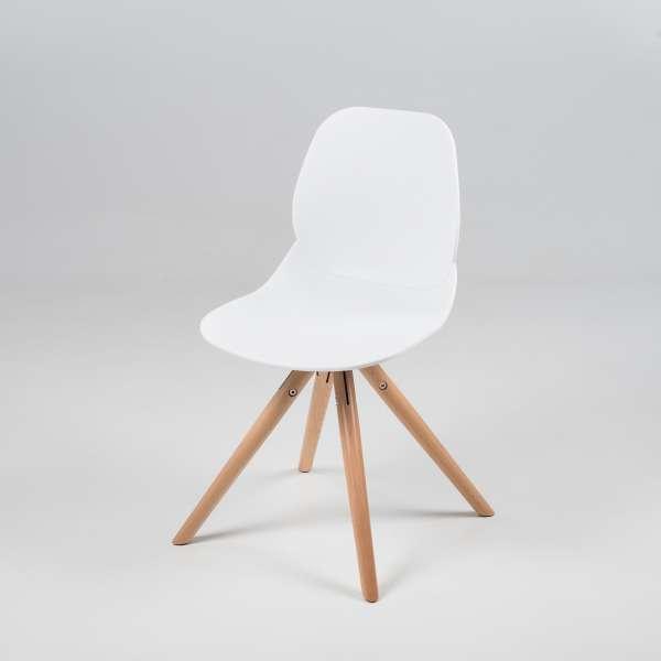 Chaise design en polypropylène blanc et bois - Victoire 2 - 10