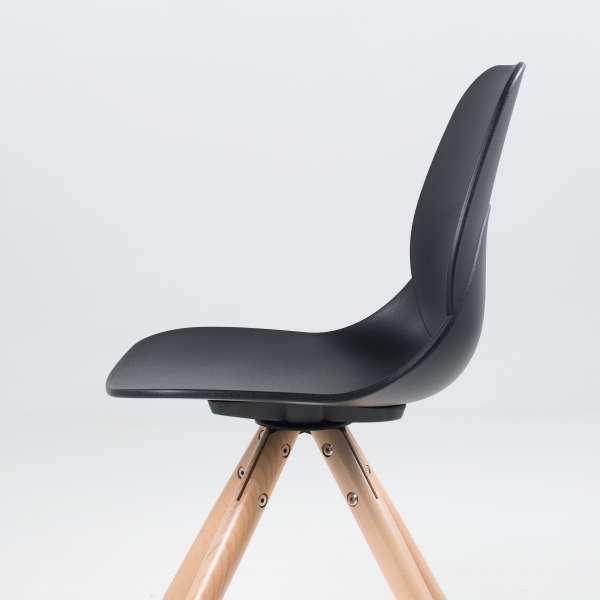 Chaise design en polypropylène noir et bois - Victoire 6 - 6