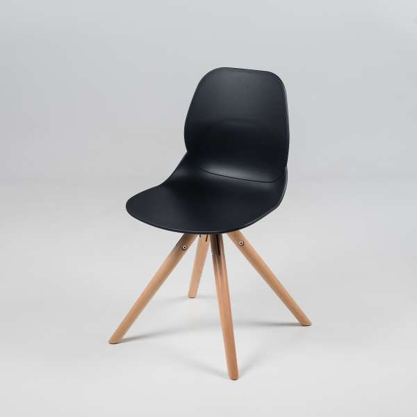 Chaise design en polypropylène noir et bois - Victoire 2 - 2