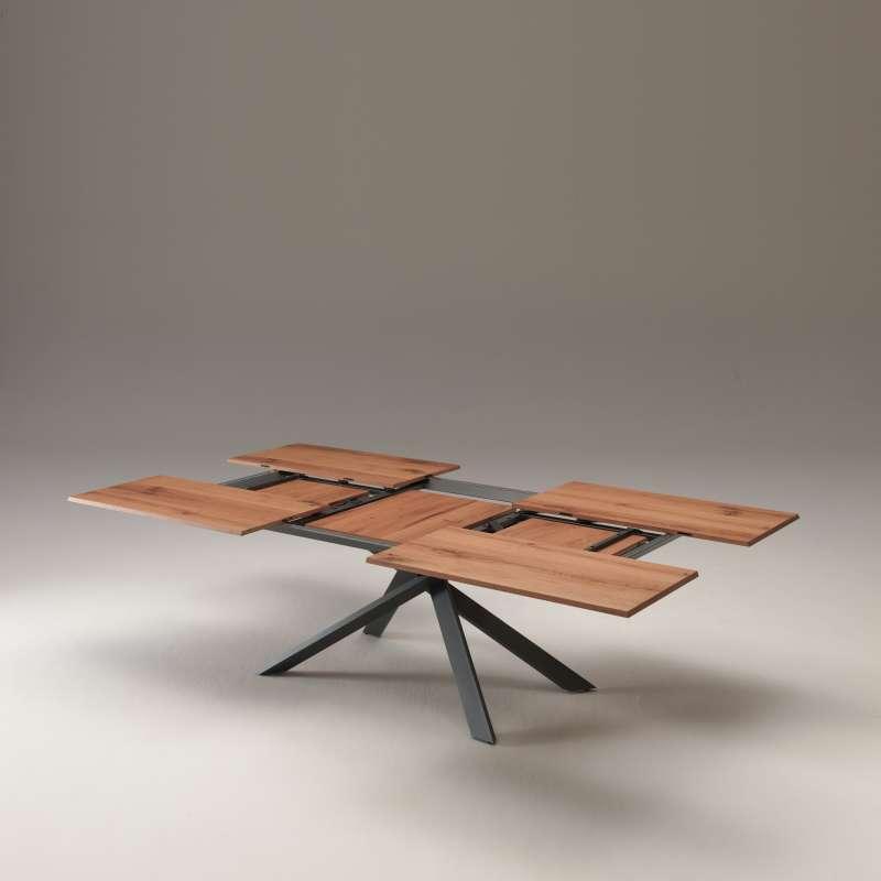 Table design extensible rectangulaire en bois et m tal for Table 4 personnes extensible
