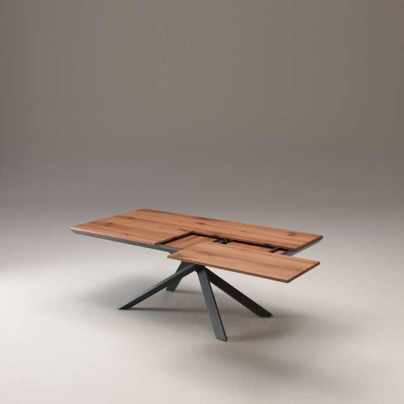 table design extensible rectangulaire en bois et m tal 4x4 4. Black Bedroom Furniture Sets. Home Design Ideas