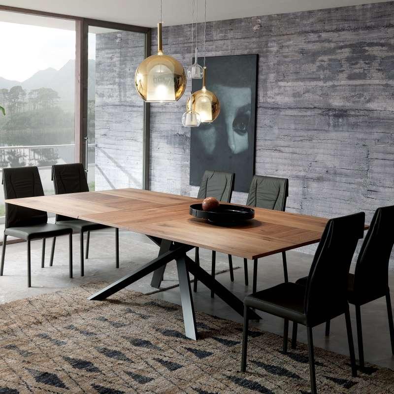 Table design extensible rectangulaire en bois et m tal - Table design extensible ...