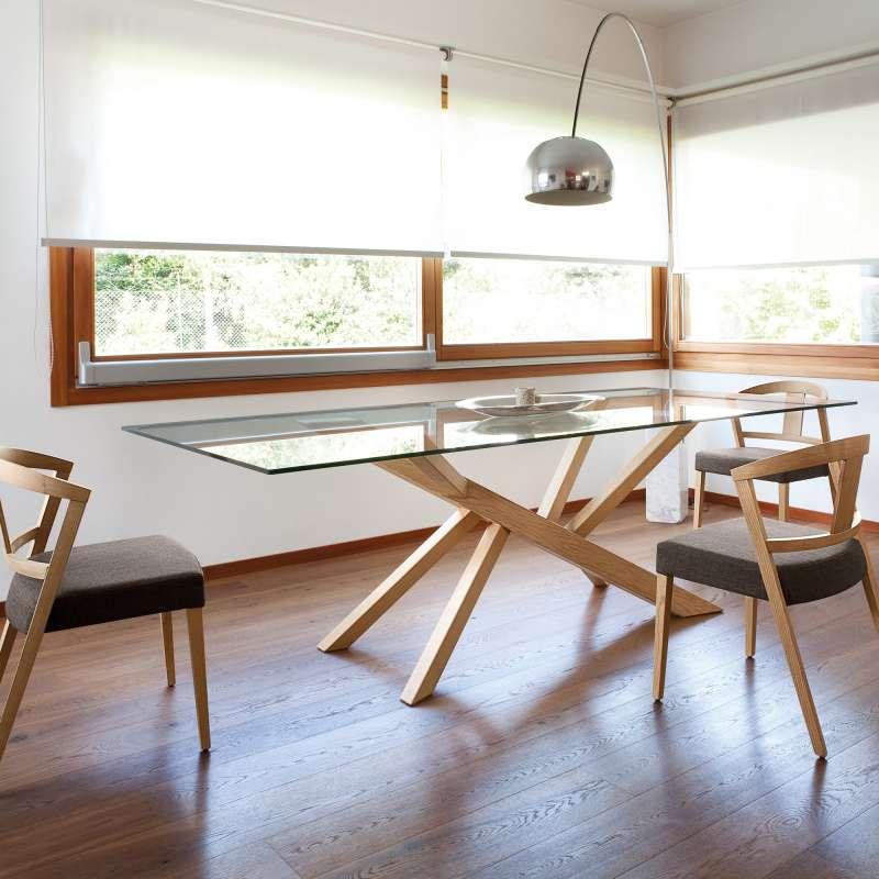 table design en verre et pieds bois tree domitalia 4. Black Bedroom Furniture Sets. Home Design Ideas