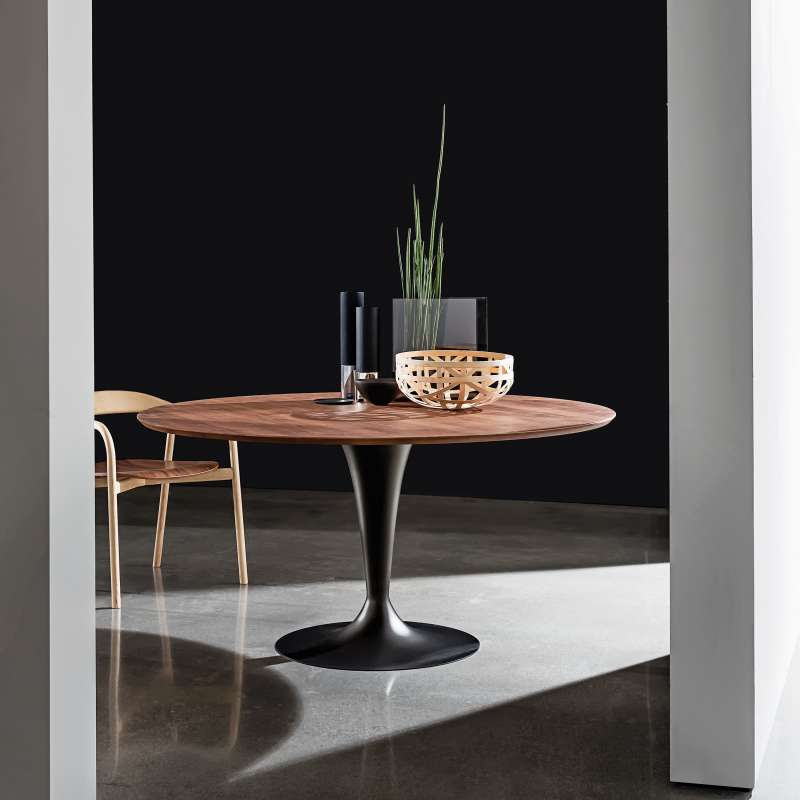 Table ronde design plateau bois fl te sovet 4 pieds tables chaises et tabourets - Table ronde bois metal ...
