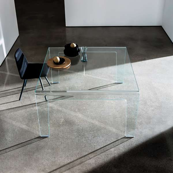 Table design rectangulaire ou carr e en verre frog sovet - Table verre carree ...