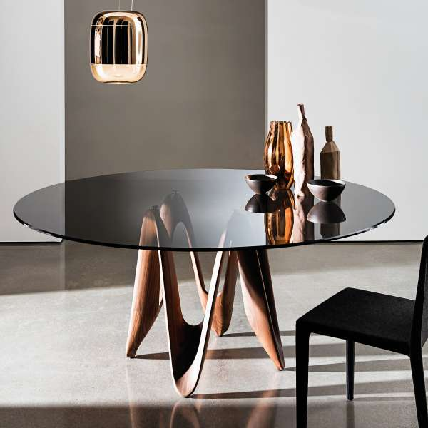 Table Italienne En Verre Of Table Ronde Design En Verre Lambda Sovet 4 Pieds