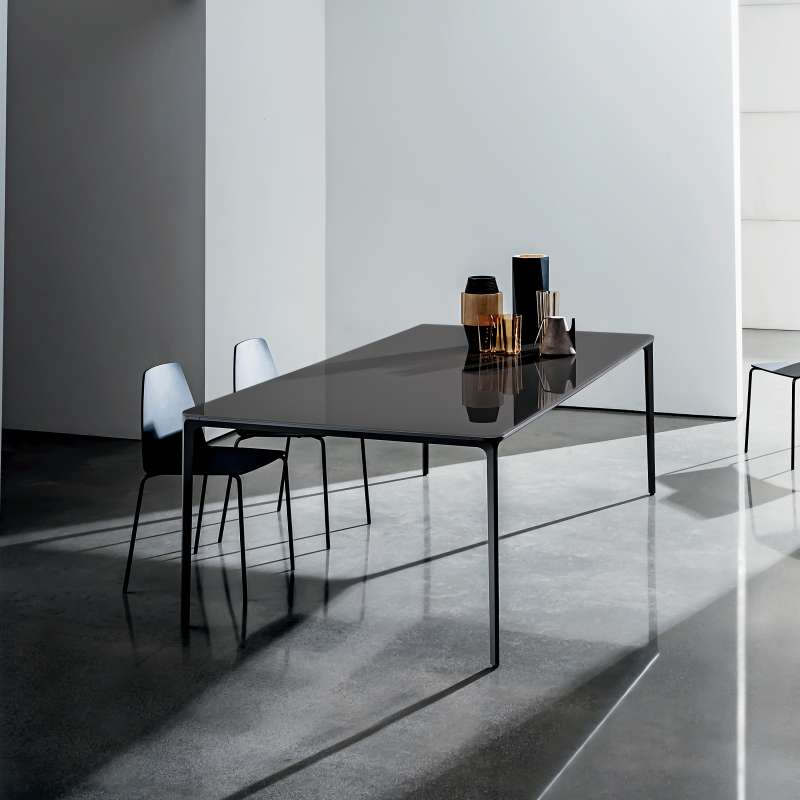 table en verre design extensible slim sovet 4 pieds. Black Bedroom Furniture Sets. Home Design Ideas