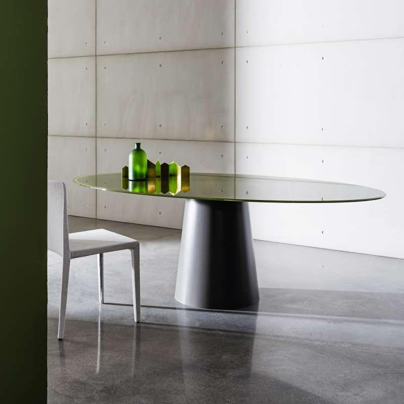 table ovale design en verre totem sovet 4. Black Bedroom Furniture Sets. Home Design Ideas
