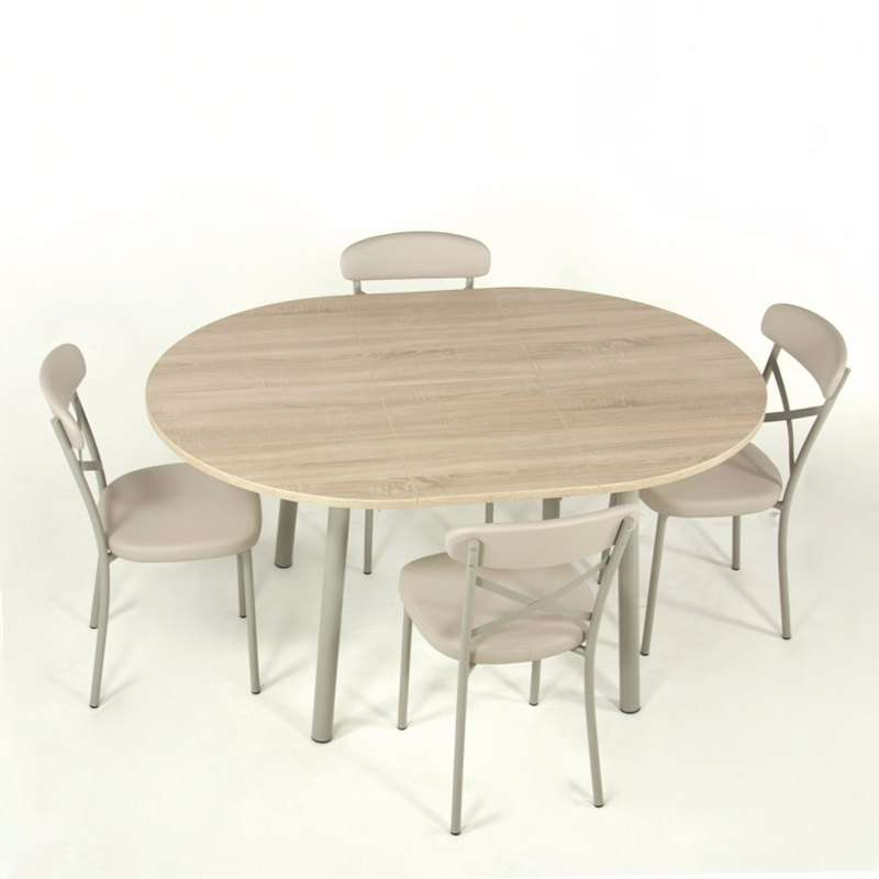 Table de cuisine extensible en stratifi elli 4 pieds for Table de cuisine kreabel