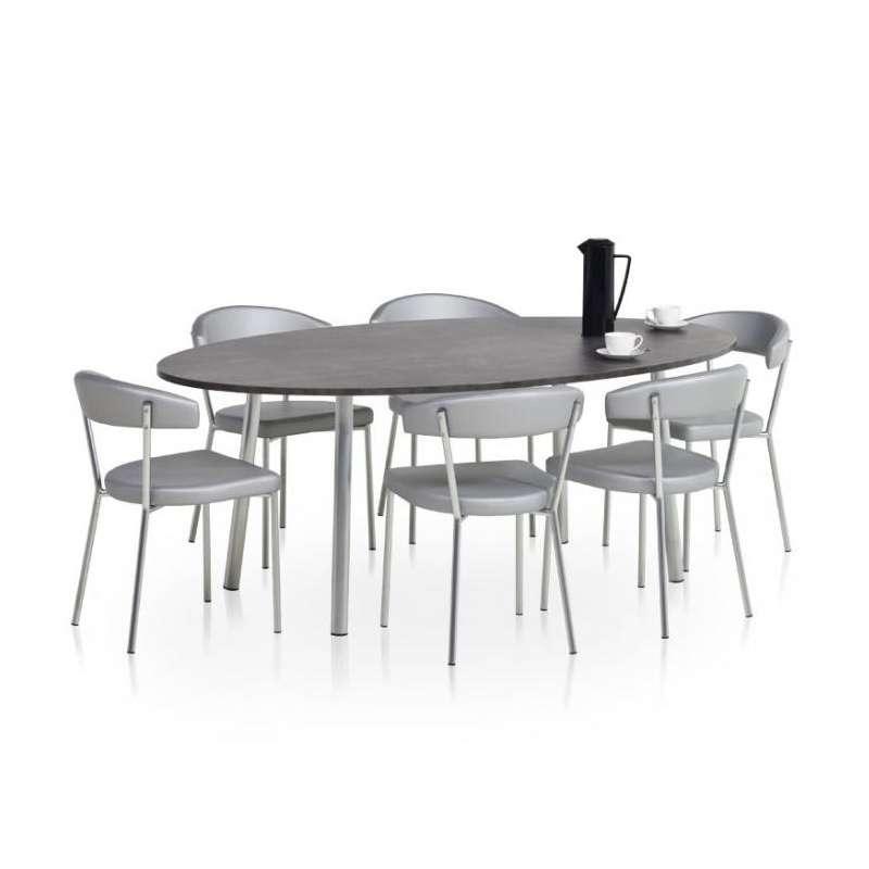 Table de cuisine ovale en stratifi elli 4 pieds for Table cuisine 4 pieds