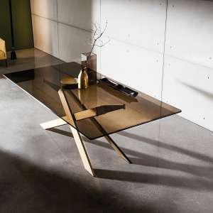 Table de salle à manger design en verre et métal - Cross