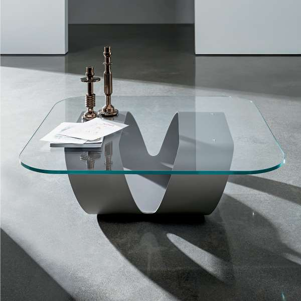 Table basse design en verre ring sovet 4 pieds tables chaises et tabou - Table salon verre design ...