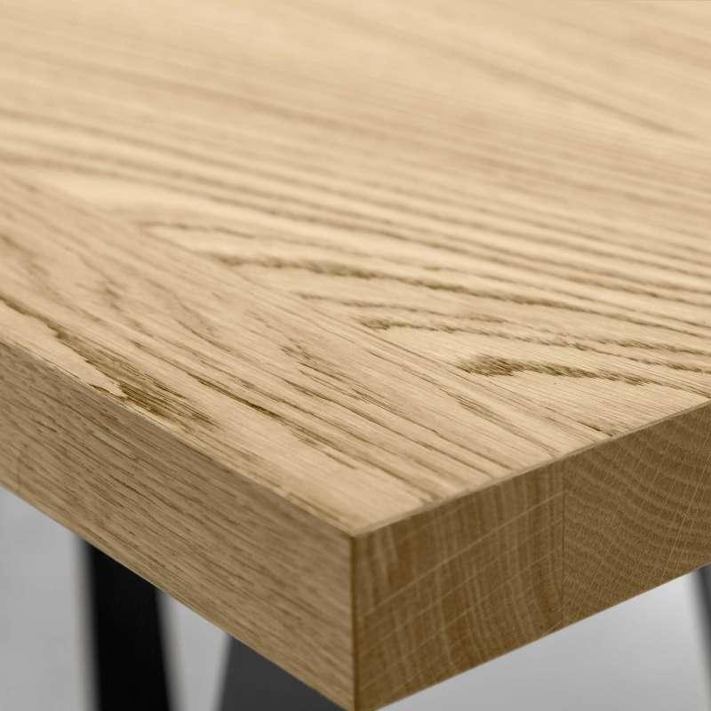table design rectangulaire en métal et bois - wave - 4 pieds