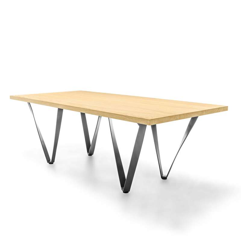 Table design extensible en m tal et bois wave 4 pieds for Table extensible 4 chaises