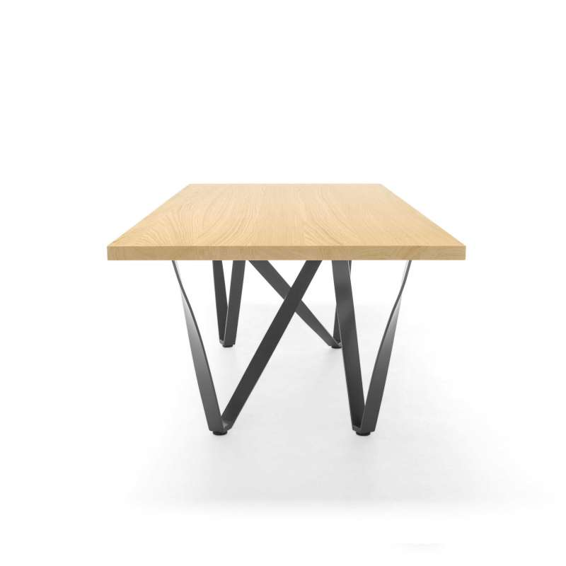 Table design extensible en m tal et bois wave 4 pieds for Table extensible 4 metres
