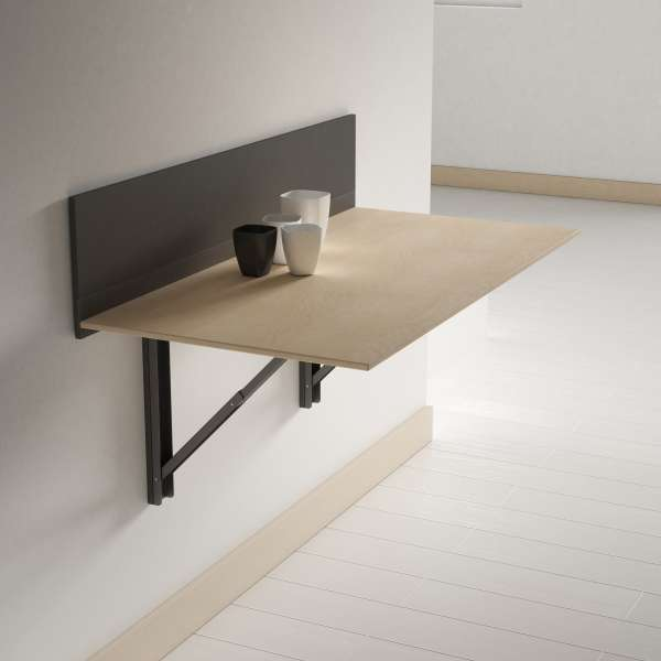 Table pliante murale contemporaine click 4 pieds for Table de cuisine pliante conforama