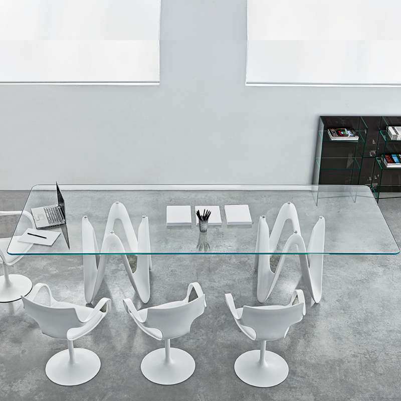 Table de salle manger design en verre 320 x 120 cm for Table salle a manger carree design en verre