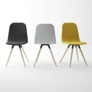 Chaise scandinave en tissu synthétique et bois - Nuba