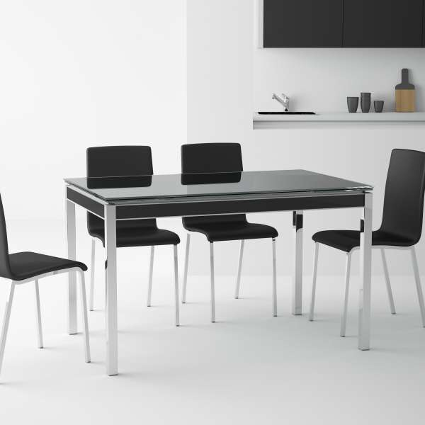 table de cuisine en verre avec rallonge bambola 4 pieds tables chaises et tabourets. Black Bedroom Furniture Sets. Home Design Ideas