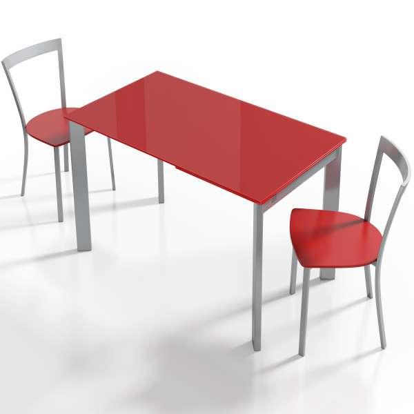 Table moderne en verre rouge avec allonge - Poker - 2