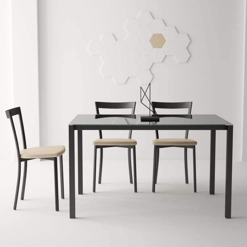 table moderne petit espace en verre et m tal logic 4. Black Bedroom Furniture Sets. Home Design Ideas