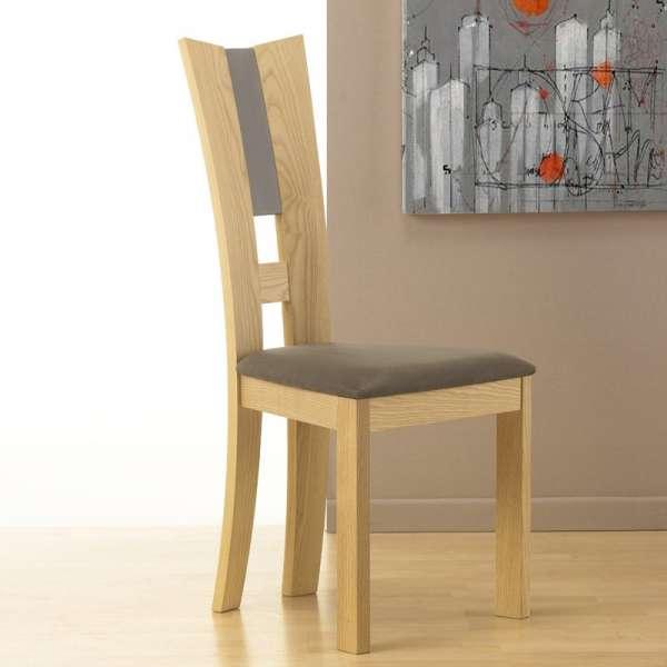 Chaise de salle manger contemporaine fran aise en tissu et bois massif floriane 4 - Chaises salle a manger bois ...