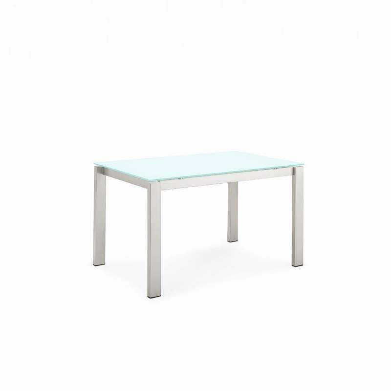 Table snack extensible en verre et m tal baron connubia for Table extensible 4 pieds