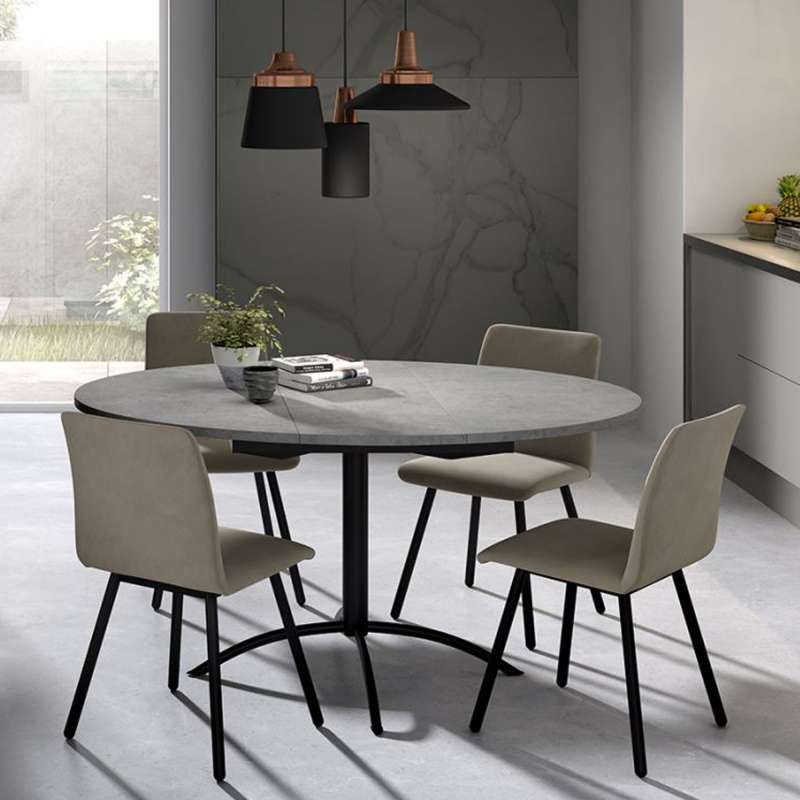 table de cuisine ronde en stratifi extensible laser 4. Black Bedroom Furniture Sets. Home Design Ideas