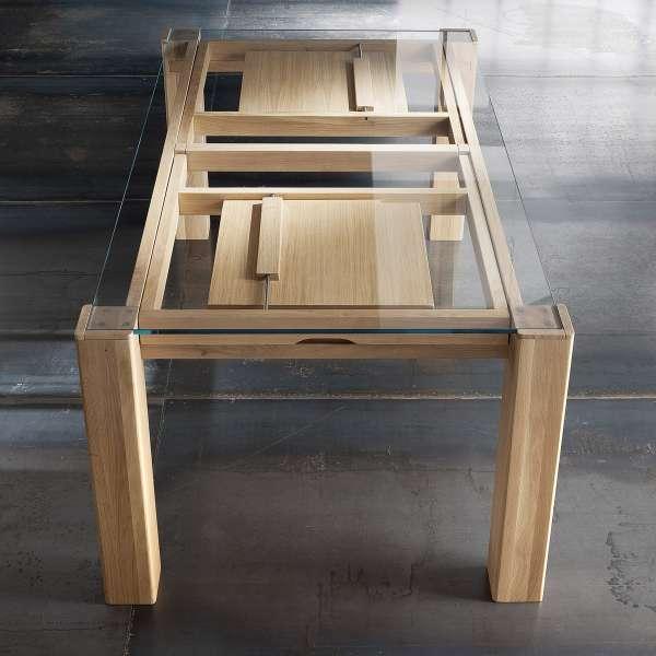 table extensible design en verre et bois massif sidney. Black Bedroom Furniture Sets. Home Design Ideas