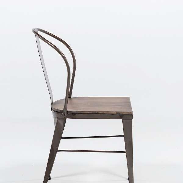 chaise industrielle en acier brut vernis, assise bois pin rustique 3 - 4