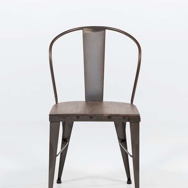 chaise industrielle en acier brut vernis, assise bois pin rustique 4 - 5