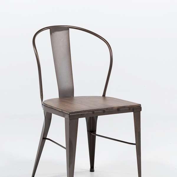 chaise industrielle en acier brut vernis, assise bois pin rustique 5 - 6