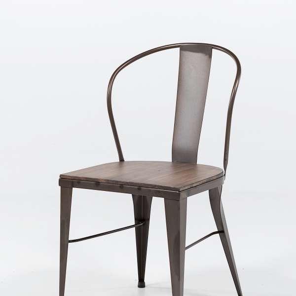 chaise industrielle en acier brut vernis, assise bois pin rustique 8 - 9