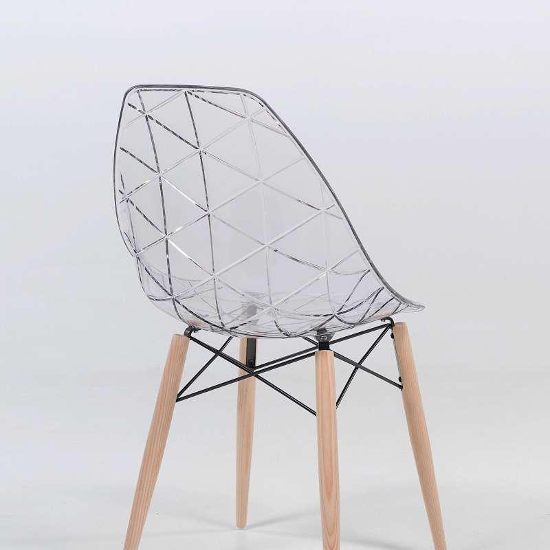 Chaise design coque transparente et bois prisma 4 pieds tables chaises et tabourets - Protection transparente table bois ...