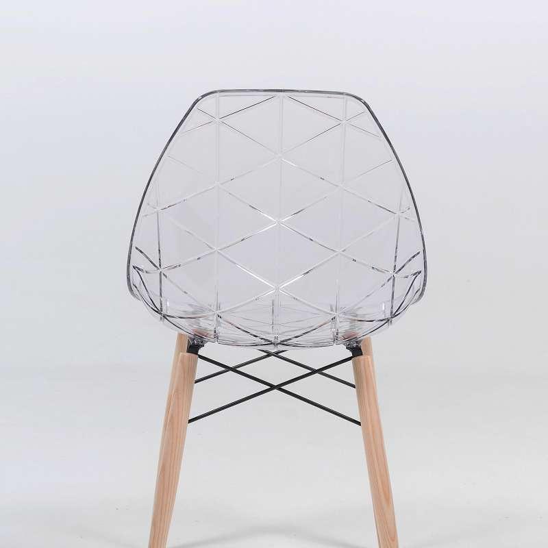 Chaise design coque transparente et bois naturel prisma 4 pieds tables - Table bois chaise transparente ...