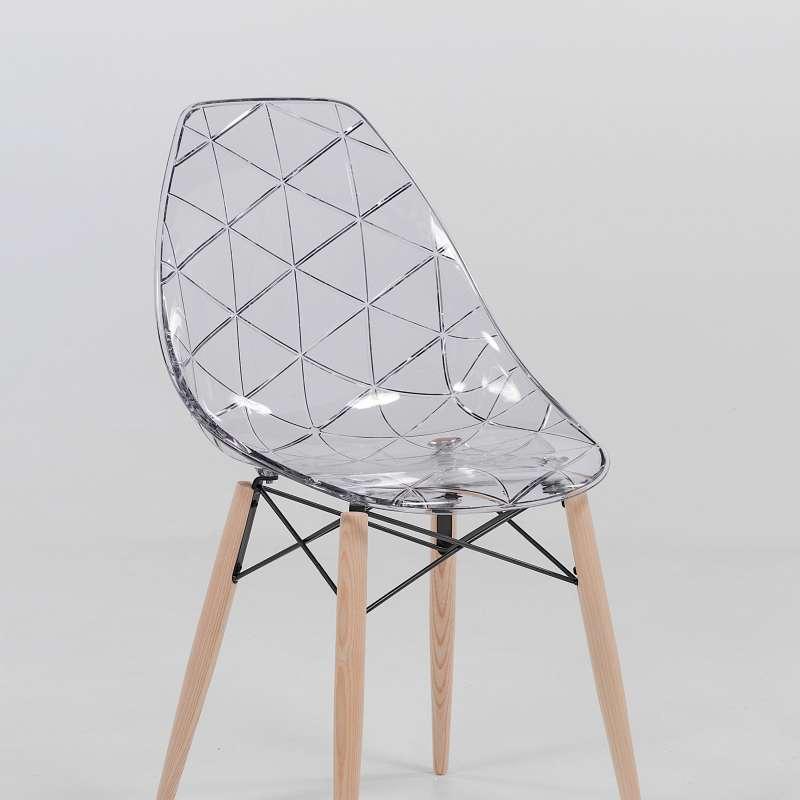 Chaise design coque transparente et bois naturel prisma - Chaises en bois design ...