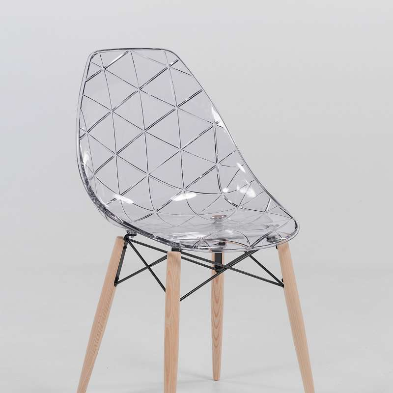 Chaise design coque transparente et bois prisma 4 - Chaise designer ...