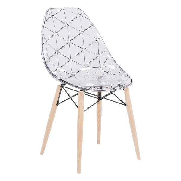 Chaise design coque transparente et bois naturel prisma for Chaise transparente pied en bois