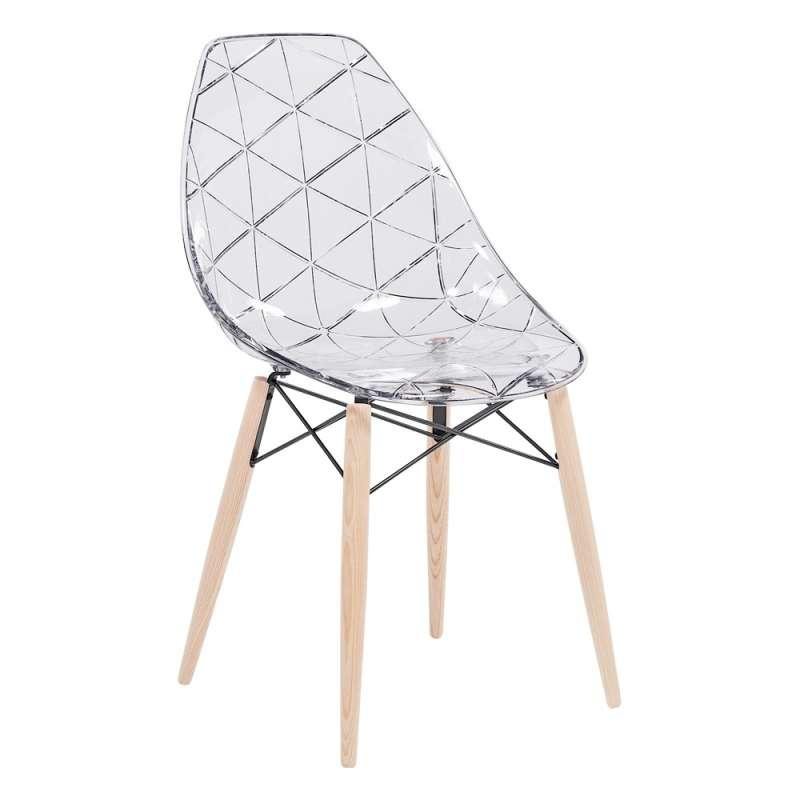 Chaise design coque transparente et bois naturel Prisma