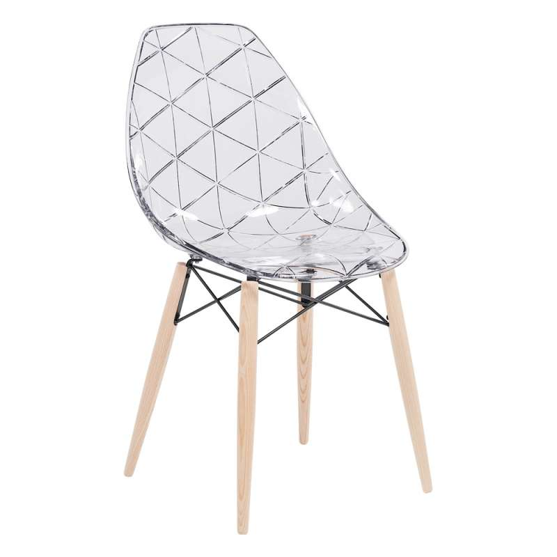 Chaise Design Coque Transparente Avec Pieds En Bois Naturel