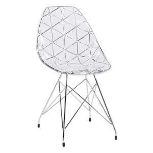 Chaise design coque transparente et métal - Prisma