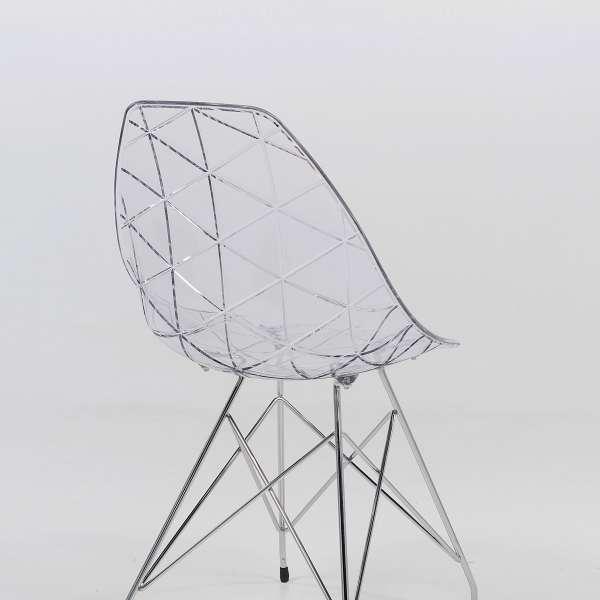 Chaise design coque transparente et métal - Prisma 2 - 2