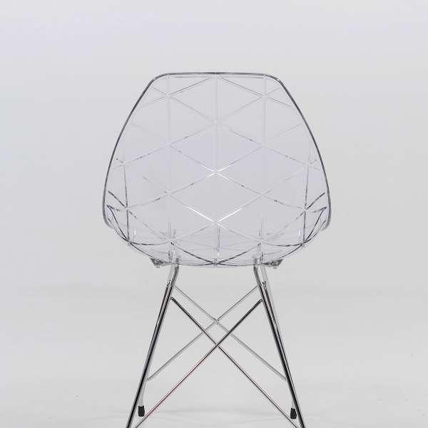 Chaise design coque transparente et métal - Prisma 3 - 3
