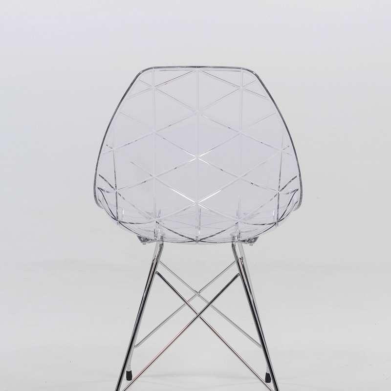 Chaise design coque transparente et m tal chrom prisma - Chaises design transparentes ...