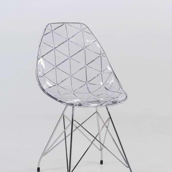 chaise design coque transparente avec pieds eiffel en m tal chrom prisma 4. Black Bedroom Furniture Sets. Home Design Ideas