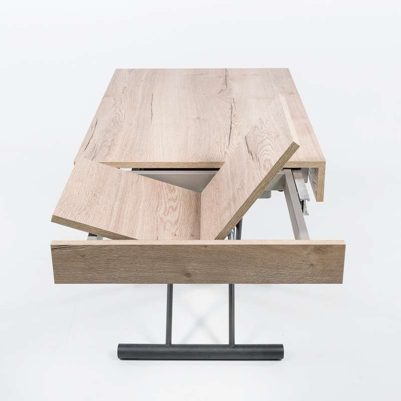 Table r glable en hauteur et extensible en m lamin - Table salon modulable hauteur ...