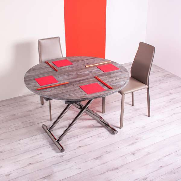 table ronde relevable en m lamin avec allonges redondo 4. Black Bedroom Furniture Sets. Home Design Ideas