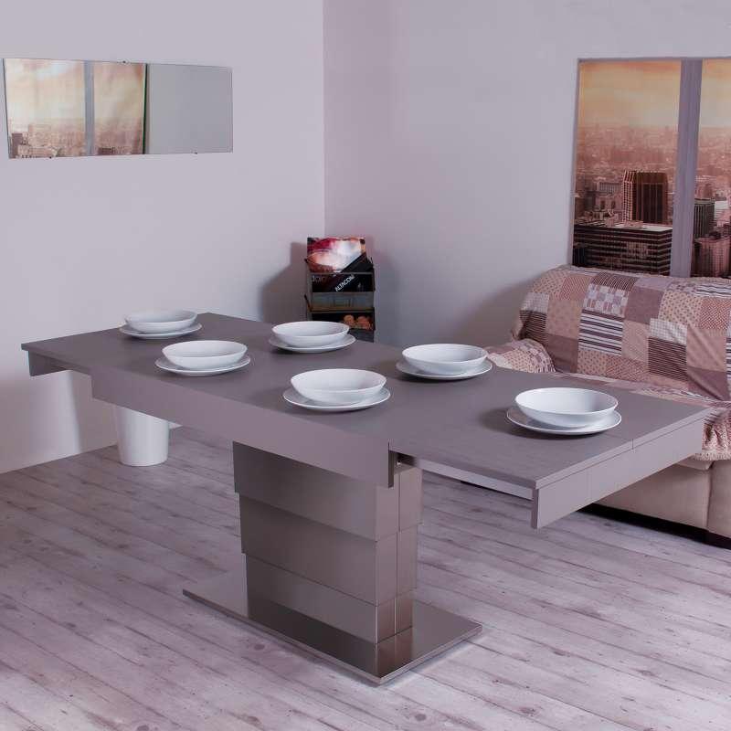Table modulable extensible en bois et m tal ares for Table extensible en hauteur