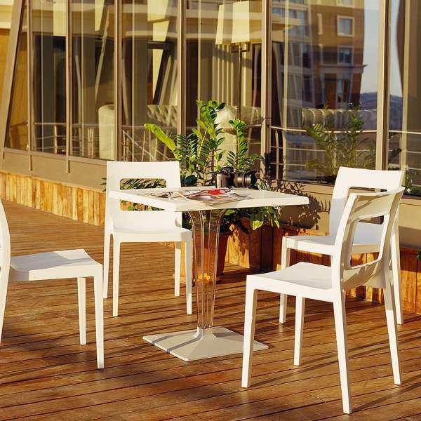 Table de jardin carrée en polycarbonate et stratifié - Ice